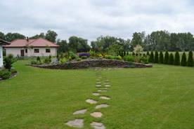 Trawnik z ciekawą wyspą roślinną