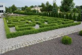 Labirynt z bukszpanu w ogrodzie geometrycznym.