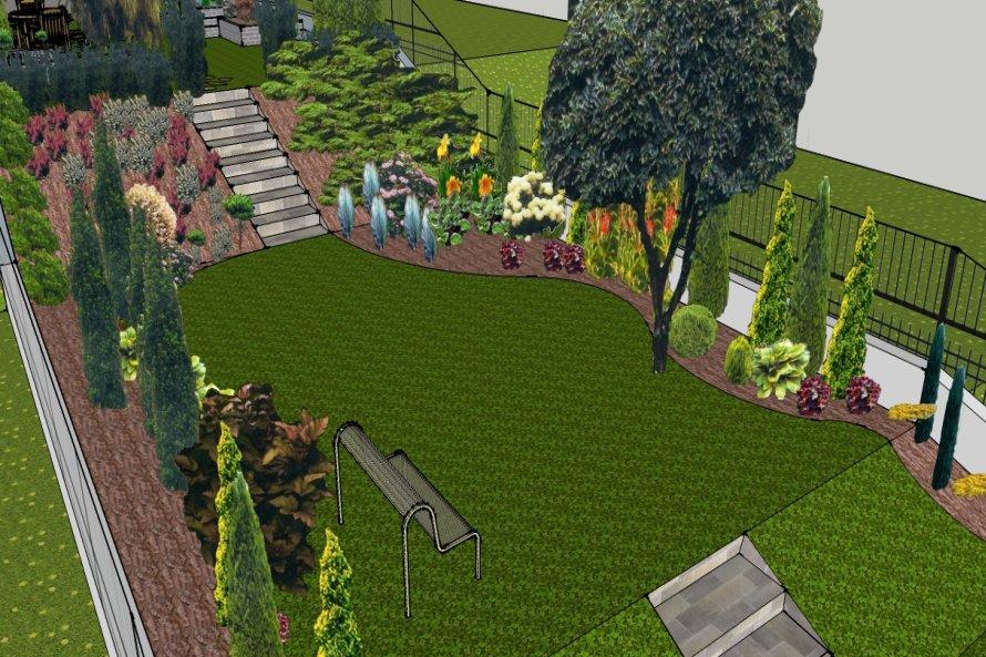 Miejsce, na którym powstanie trawnik z rabatami i sklaniakiem.